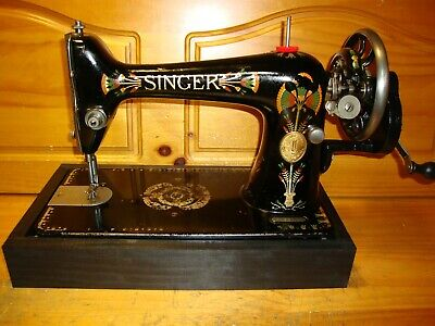 "1924 Antique Singer Sewing Machine,  Model 66K  ""Lotus"", Hand Crank, Serviced"