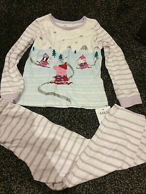 Girls M&S Peppa Pig Pyjams Set  Age  4 /5  Years  New  Bnwt