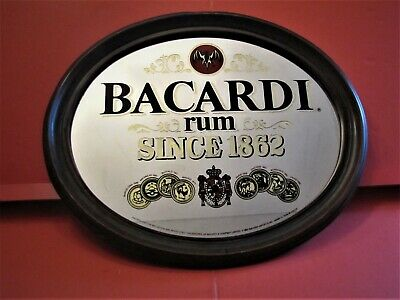 Vintage Bacardi Bar Mirror Sign 24 X 19