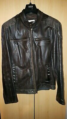 MENS BROWN LEATHER Jacket Size XL 34 length Boris by
