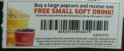 2 Regal movie buy a large popcorn get a small soft drink voucher expire 1/31/21