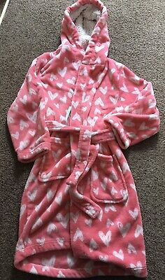 Bhs Pink Fluffy Dressing Gown Age 9-10 Years