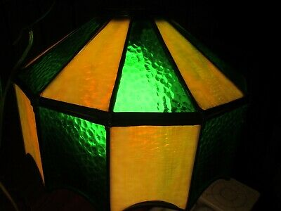 Vtg Swag Lamp Stained Slag Glass Panels Leaded Ceiling Mount Light Mid Century