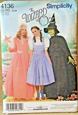 Simplicity 4136 Wizard Oz Dorothy Wicked Witch West Hat Sewing Pattern UNCUT