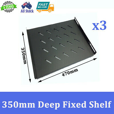 "3x Brand New 350mm Deep Fixed Shelf For 600mm 19 inch 19"" Server Cabinet"