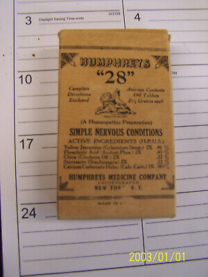 Antique HUMPHREYS 28 Nervous Conditions Full Box Herb Quack Medicine Bottle