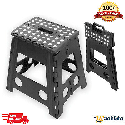 Multi-Purpose Seat Home Kitchen Storage Folding Step Stool Heavy Duty Plastic