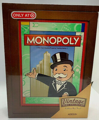 MONOPOLY Vintage Game Collection WOODEN Bookshelf Box 2009 Brand New Sealed