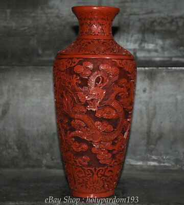 """12"""" Marked Old Chinese Red lacquerware Carved Dynasty Palace Dragon Bottle Vase"""