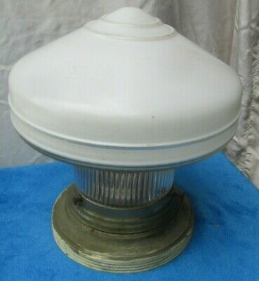 Vtg Antique Salvaged School House Flush Ceiling Light Fixture 1920s Art Deco