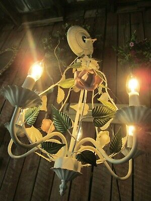 Vintage Italian French Tole 5 Light Chandelier Leaf Metal Flowers Roses Chic