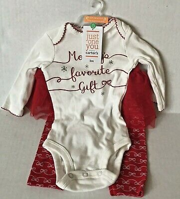 Carter's Girls 2 PC Mommy's Favorite Gift CHRISTMAS OUTFIT 3 Mos NEW #16538