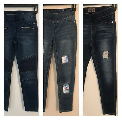 Girls Pull On Justice Jegging Jeans Sz 10 Slim Sequin Distressed Denim Mid Rise