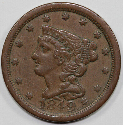 1849 1/2c Braided Hair Half Cent UNSLABBED