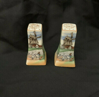 Windmill Salt and Pepper Shakers Hand-Painted Porcelain Japan