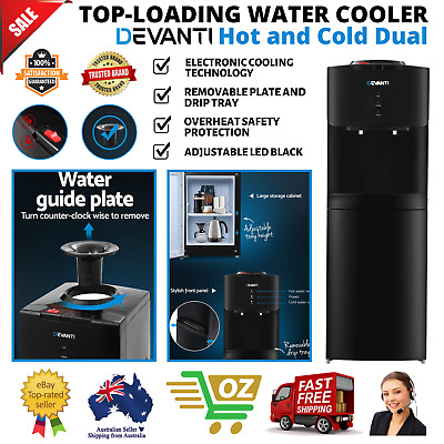 Top-loading Water Cooler Hot and Cold Dual Taps Dispenser Adjustable LED Black