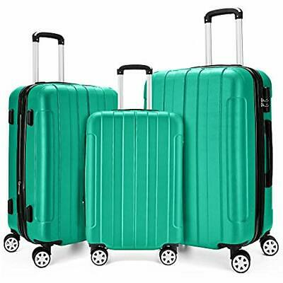 """Luggage Sets 3 Piece Expandable Spinner Lightweight Suitcase 20"""", 24"""", 28"""",Green"""