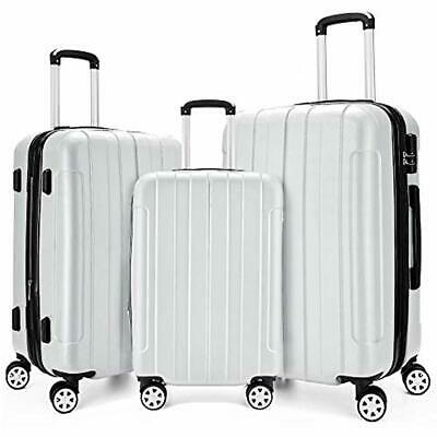 """Luggage Sets 3 Piece Expandable Spinner Lightweight Suitcase 20"""",24"""",28"""" (White)"""