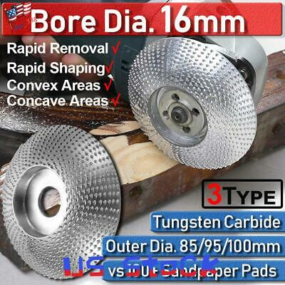 85-100mm For Angle Grinder Wheel Bore 16mm Tungsten Carbide Disc Wood Carving US