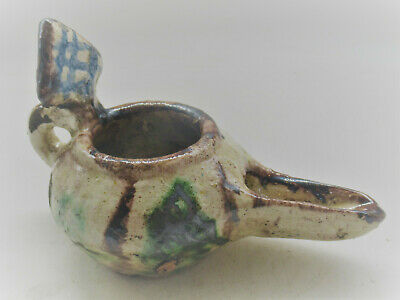 Finest Circa 1200-1300Ad. Ancient Islamic Glazed Seljuk Oil Lamp