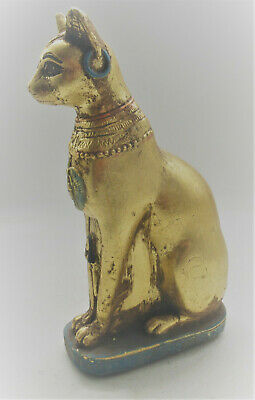 Beautiful Old Antique Egyptian Gold Gilded Stone Bastet Cat Statuette 15Cm+