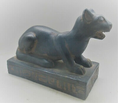 Beautiful Ancient Egyptian Stone Carved Statuette Of Bastet Cat With Heiroglyphs