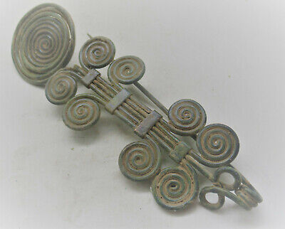 Circa 500Bce Ancient Celtic Halstatt Spiral Spectacle Fibula Very Large