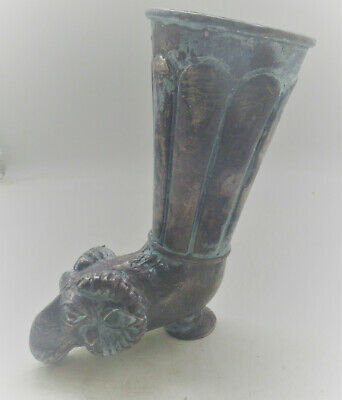 Scarce Ancient Persian Hand Beaten Silver Fluted Rhyton With Rams Head 400Bce