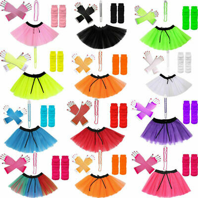 Modern Kids Adults Neon UV 1980.s Girls Fancy Dress Hen Party TUTU Complete Set