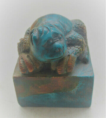 Beautiful Antique Chinese Turquoise Stone Seal Stamp With Beast On Top