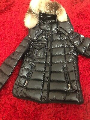 Genuine Girls Black Moncler Coat With Detachable Fur Hood Aged 10years