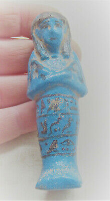 Circa 664-332Bce Ancient Egyptian Glazed Faience Ushabti With Heiroglyphics