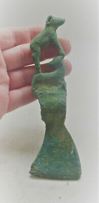 Scarce Ancient Luristan Bronze Axe Head With Ram Terminal Circa 1000Bce