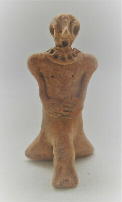Circa 1000Bce Ancient Syro-Hittite Seated Terracotta Fertility Figure Unusual