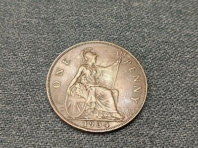 1934 One Penny Coin In Better Grade George V Free UK P&P