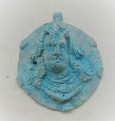 Beautiful Ancient Roman Near Eastern Bronze Pendant Depicting Male Figure