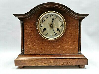 """MADE IN TAMESIDE 11"""" Tall Wooden Mantel Clock Unusual Club Suite Style Hour Hand"""