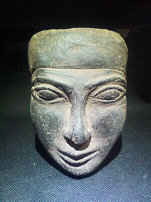EGYPTIAN ANTIQUES ANTIQUITIES King Amenemhet III Face Sculpture 1991-1782 BC