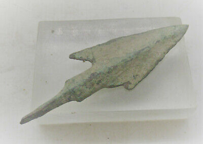Circa 1500Bce Ancient Mycenaean Longshot Barbed Arrowhead Battle Relic