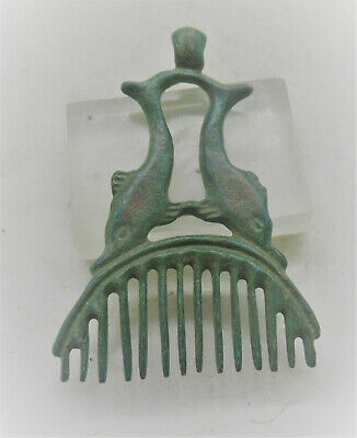 Scarce Ancient Roman Bronze Comb Pendant With Two Dolphins Circa 200-300Ad