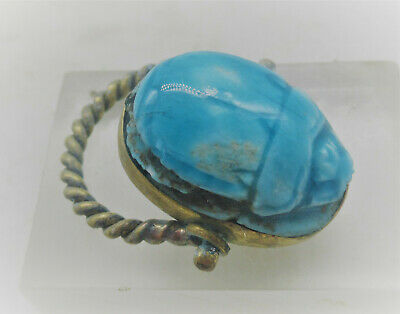 Ancient Egyptian Faience Scarab Seal In A Gold Gilded Swivel Ring Wearable