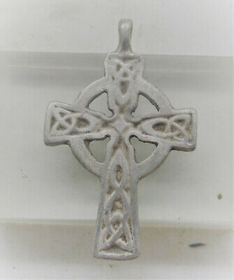 Scarce Circa 600-700Ad Ancient Byzantine Silver Crusaders Cross Pendant Wearable