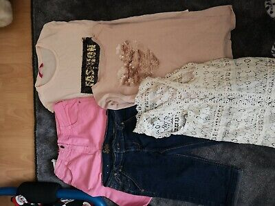 #S - Girls Age 10-11 Years cropped Jeans T-shirts Pink Peach Gillette