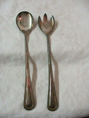 Vintage Italy EP Zinc Silver plated 2 pc Salad Serving Fork & Spoon