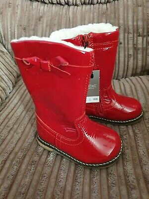 Bnwt Baby Girls Toddler Red Patent Leather Boots Size 3 19 Bow Fleece Lining
