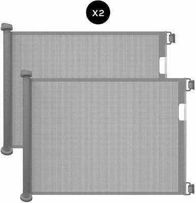 Callowesse Retractable Mesh Stair Gate 0-130cm - Grey - 2 Pack