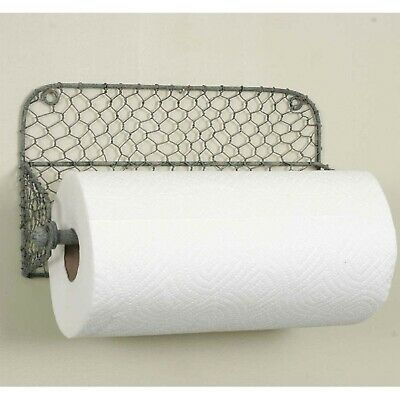 Wall Mount CHICKEN WIRE Paper Towel Holder Primitive Country Farmhouse New