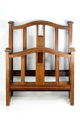 Pair of Antique Edwardian Mahogany & Inlaid Single Beds - Bedsteads Arts Crafts