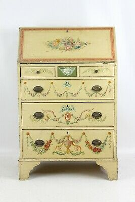 Small Antique Edwardian Neo-Classical Painted Bureau -Writing Table Bureaux Desk