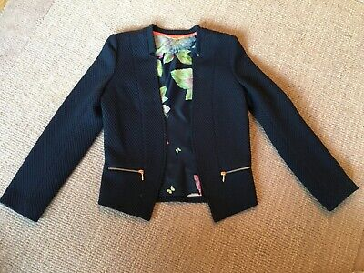 Ted Baker Junior Girls Smart Jacket Navy Floral Lined Coat Age 9-10 Years Party